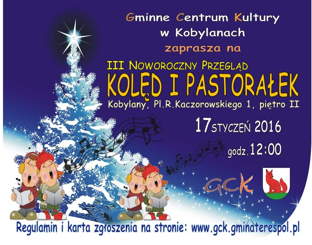 Plakat III Noworocznego Przeglądu Kolęd i Pastorałek 17.01.2016